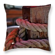 Rope On Wood Throw Pillow