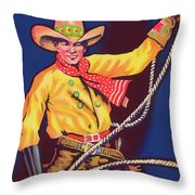 Roper Vintage Fruit Packing Crate Label Throw Pillow