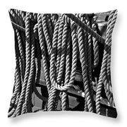 Ropes For The Rigging Bw 1 Throw Pillow