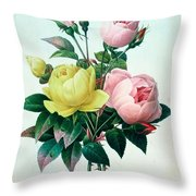 Rosa Lutea And Rosa Indica Throw Pillow by Pierre Joseph Redoute