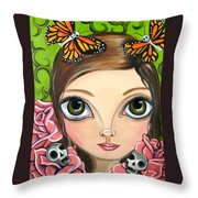 Rose Amongst The Butterflies Throw Pillow