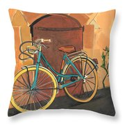 Rose And Bicycle Throw Pillow