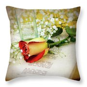 Rose And Bottle Throw Pillow