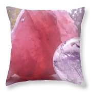 Rose And Clear Quartz 1 Throw Pillow