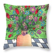Rose And Flowers Throw Pillow