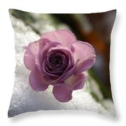 Rose And Snow Throw Pillow