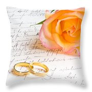 Rose And Two Rings Over Handwritten Letter Throw Pillow