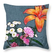 Rose Baby Breath And Lilly Throw Pillow