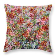 Rose Bouquet In Glass Vase Throw Pillow