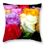Rose Bouquet Painting Throw Pillow