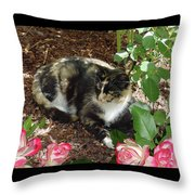 Rose Bower For A Cat Throw Pillow