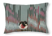 Rose Breasted Grosbeak And Song Throw Pillow