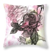 Rose Bud Pink Throw Pillow