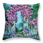 Rose-covered Trellis Throw Pillow