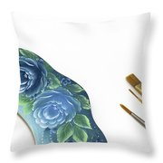 Rose Drawing On Wreath, Tole And Decorative Painting, American S Throw Pillow