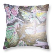 Rose Fairies Throw Pillow