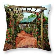 Rose Garden Entrance Throw Pillow