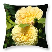 Rose Garden Floral Art Print Yellow Roses Canvas Baslee Troutman Throw Pillow