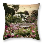 Rose Garden Splendor Throw Pillow