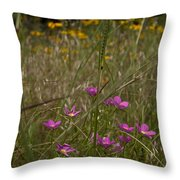Rose Gentian With Brown Eyed Susans Throw Pillow