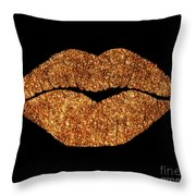 Rose Gold Texture Kiss, Lipstick On Pouty Lips, Fashion Art Throw Pillow