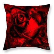 Furious Rose Magic Red Throw Pillow