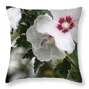 Rose Of Sharon And Bee Throw Pillow