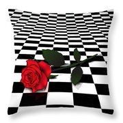 Rose On Black And White #0073 Throw Pillow