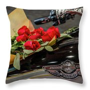 Harley Davidson And Roses Throw Pillow