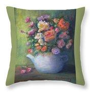 Rose Petal Tea Pot Throw Pillow
