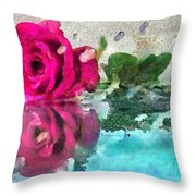 Rose Reflected Fragmented In Thick Paint Throw Pillow