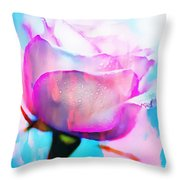 Rose Soft Pink Silked In Thick Paint Throw Pillow
