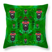 Rose Sugar Skull In Fern Garden Throw Pillow