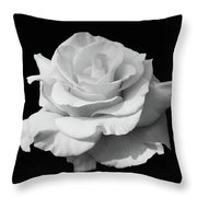 Rose Unfurled In Black And White Throw Pillow