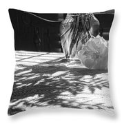 Rose Vase In Shadows Black And White Throw Pillow