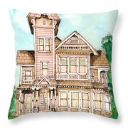 Rose Victorian Inn - Arroyo Grande Ca 1886 Throw Pillow by Arline Wagner
