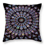 Rose Window At Notre Dame Cathedral Paris Throw Pillow