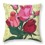 Rose With Roses Throw Pillow