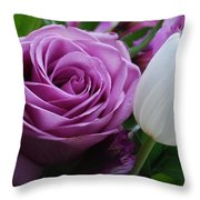 Rose With Tulip Throw Pillow