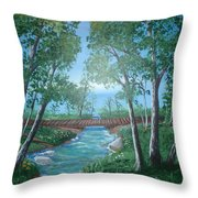 Roseanne And Dan Connor's River Bridge Throw Pillow