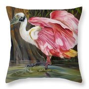 Roseate Spoonbill In A Cypress Swamp Throw Pillow