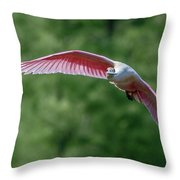 Roseate Spoonbill In Flight 2 Throw Pillow
