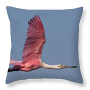 Roseate Spoonbill In Flight 3 Throw Pillow