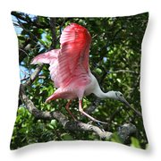 Roseate Spoonbill In Flight Throw Pillow