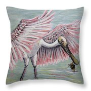 Roseate Spoonbill On The Foggy Laguna Madre Throw Pillow