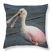 Roseate Spoonbill With Something To Say Throw Pillow