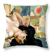 Rosebud Girl Throw Pillow