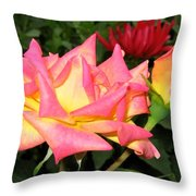 Roses And A Dahlia Throw Pillow