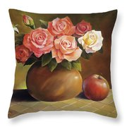 Roses And Apple Throw Pillow by Han Choi - Printscapes