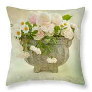 Roses And Daisys Throw Pillow